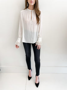 Off White Lace Sleeve Blouse