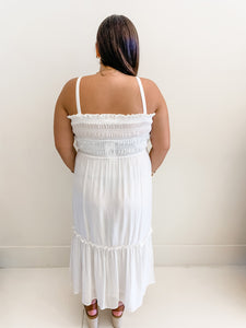 Off White Ruffle Smocked Dress
