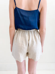 Taupe Linen Shorts