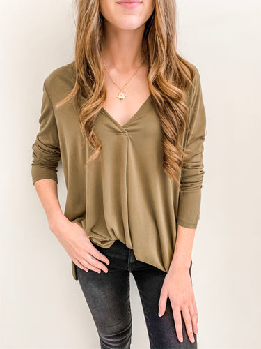 Olive Basic Long Sleeve Vneck
