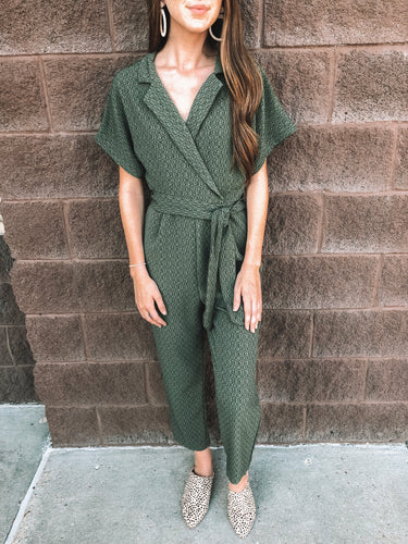 Olive Textured Jumpsuit