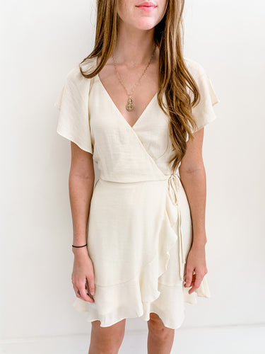 Cream Wrap Dress