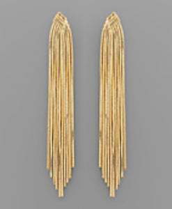 Gold Metal Tassel Earrings
