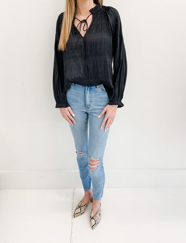 Black Pleat Blouse