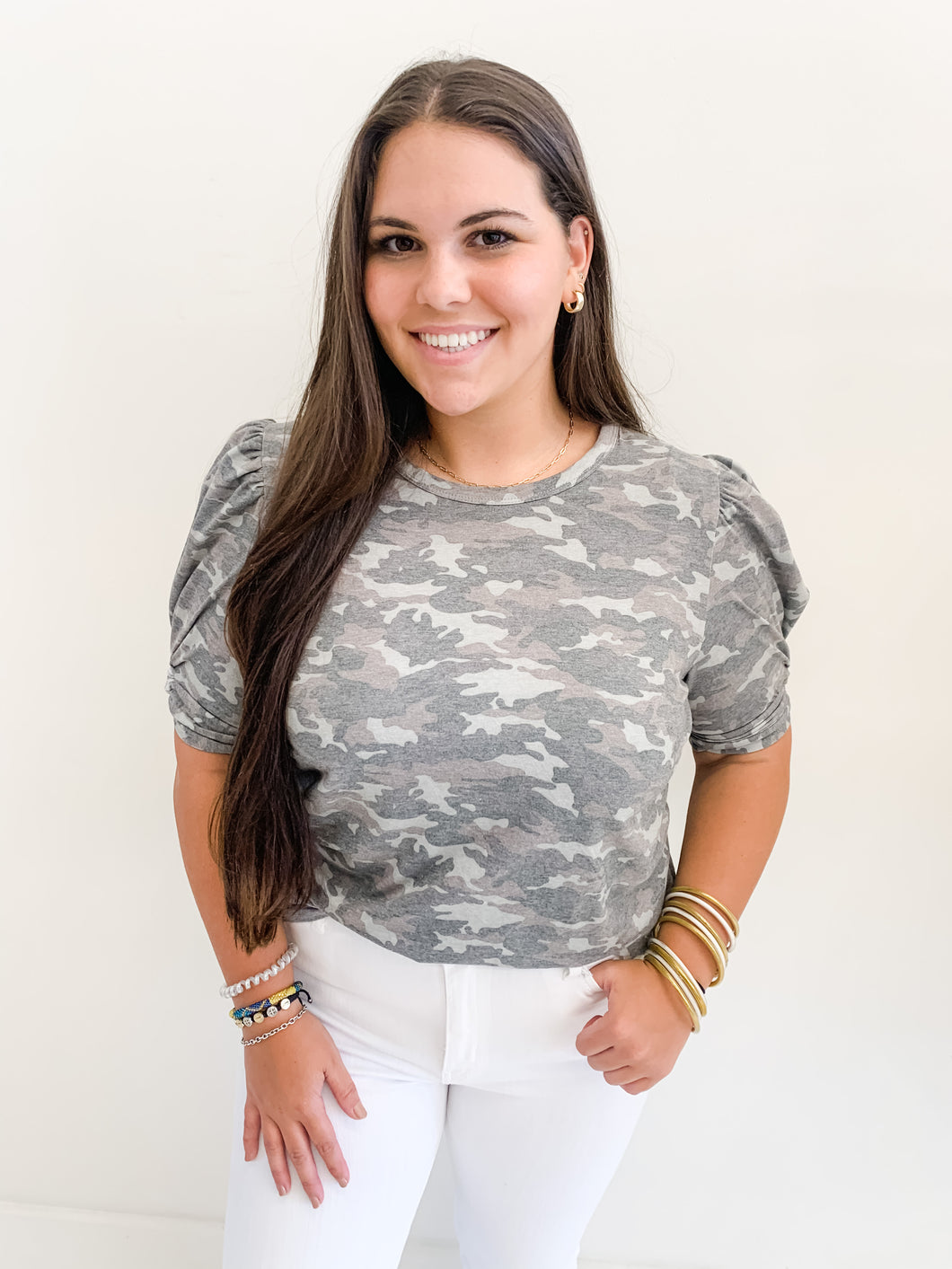 Camo Twist Sleeve Top