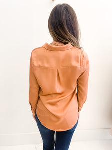 Aria Satin Blouse Maple