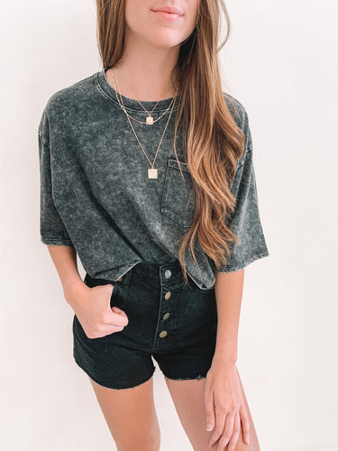 Black Acid Wash Crop Tee