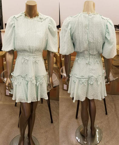 Mint Floral Lace Puff Slv Dress