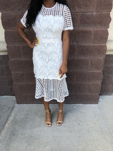 White Floral Cage Lace Dress