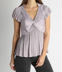 Lavender Ruffle Pleat Blouse