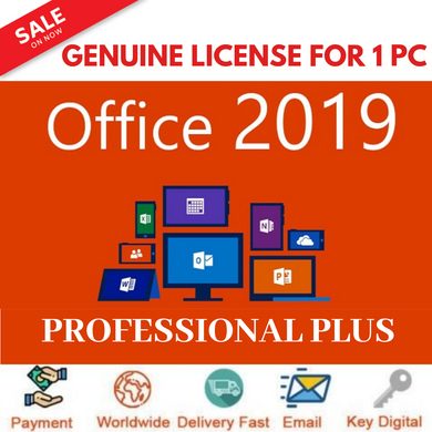 Office 2019 Professional Plus 32/64bit License Key Genuine for 1PC