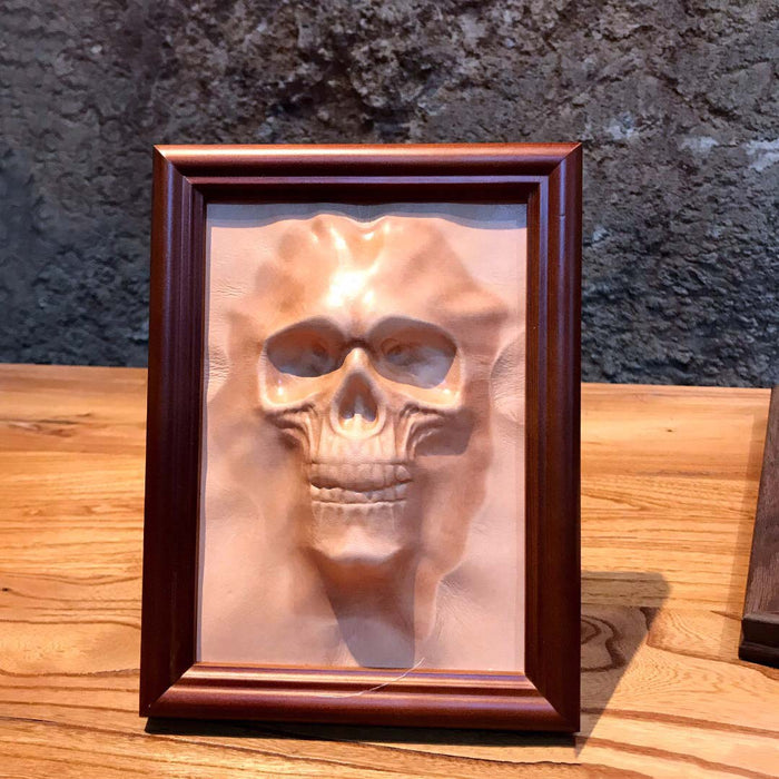 Embossed Leather Skull with Wood Frame