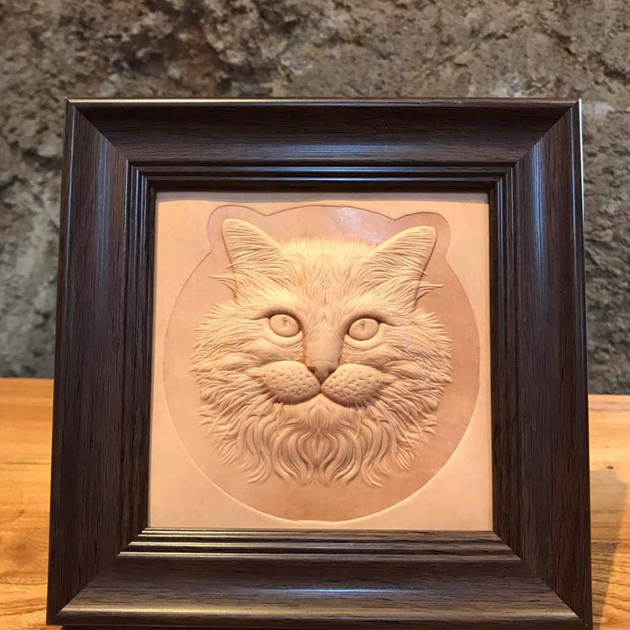 Embossed Leather Kitty Cat with Wood Frame
