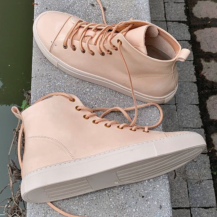 Veg Tan Leather High Top Sneaker