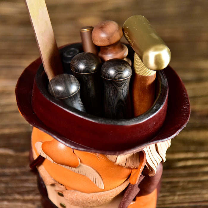 Old Pop Leather Bucket Organizer