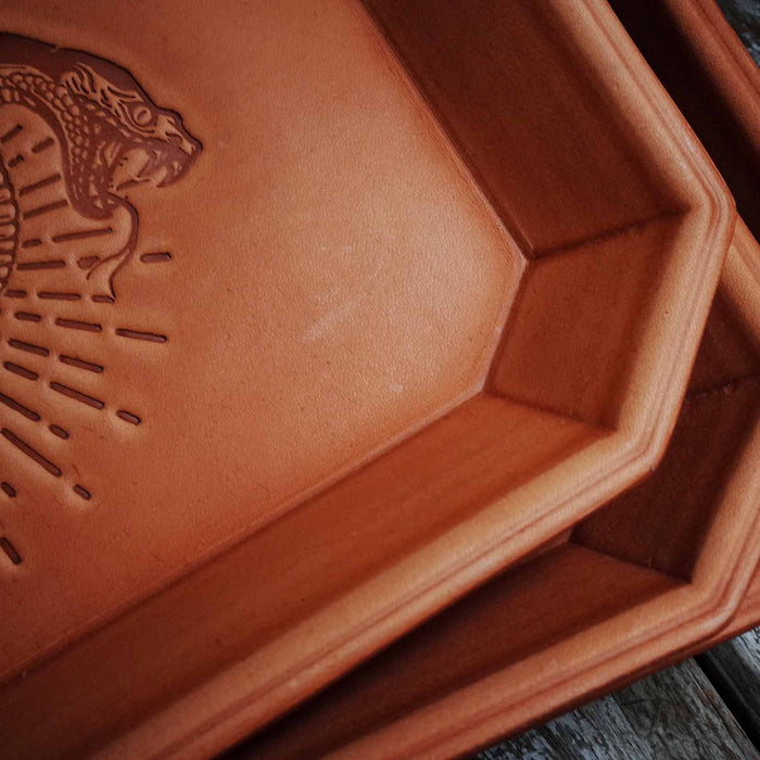 Rattlesnake Stamped Leather Tray
