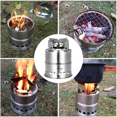 Portable Folding Windproof Wood Burning Compact Stainless Steel Alcohol Stove