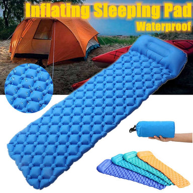 Outdoor Camping Thick Inflatable Sleeping Pad Mat with Built-in Pillow