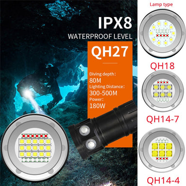45000LM Waterproof LED Flashlight
