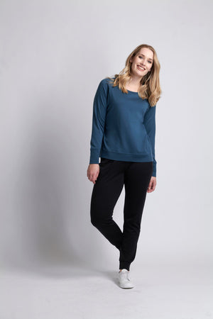 FOIL MERINO SWEATER CUFF AND  HEM MEDITERRANEAN