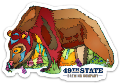 49th State Brown Bear Sticker