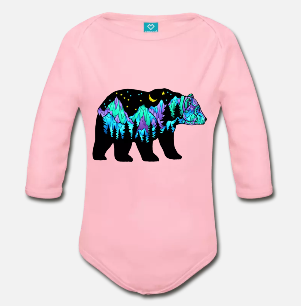 Babies - Organic Long Sleeve Onesie Pink - Northern Lights Big Dipper Bear