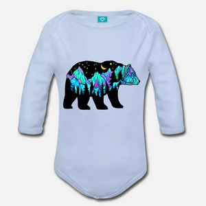 Babies - Organic Long Sleeve Onesie Sky Blue - Northern Lights Big Dipper Bear