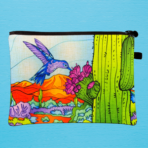 Linen Bag - Hummingbird with Saguaro in Blue Sky