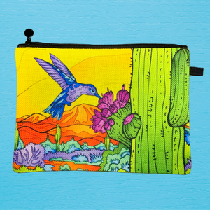 Linen Bag - Hummingbird with Saguaro in Yellow Sky