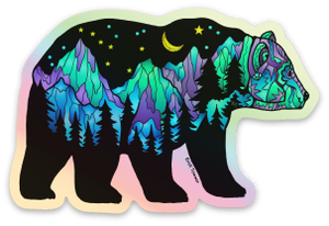 Bear - Big Dipper - Northern Lights - Holographic Sticker