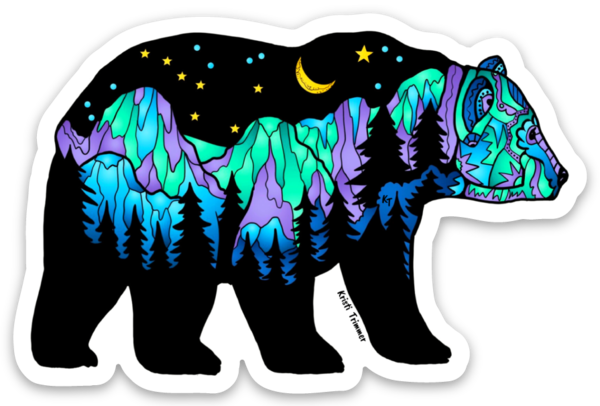 Bear - Big Dipper - Northern Lights - Rounded Mountains Sticker