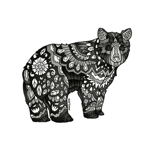 Bear - Black Bear - Black & White Sticker