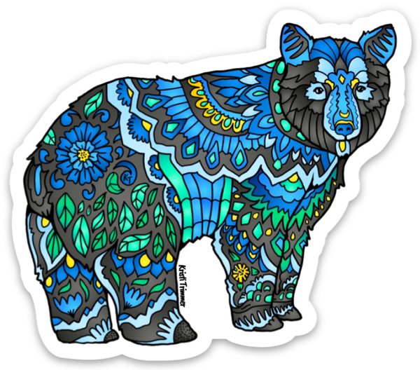 Bear - Black Bear - Black & Blue Sticker