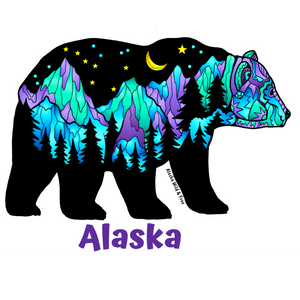 Bear - Big Dipper Purple & Green Bear - Alaska Sticker