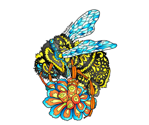 Bumble Bee - Yellow & Black Sticker