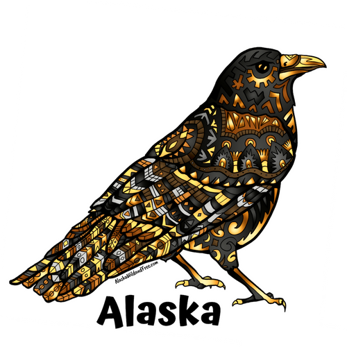 Bird - Raven - Black & Gold + Alaska Sticker