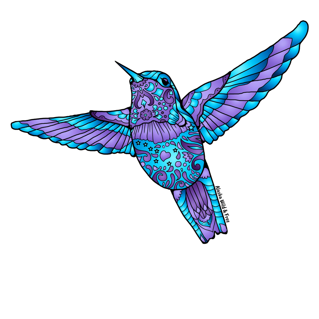 Bird - Blue & Purple Hummingbird Magnet
