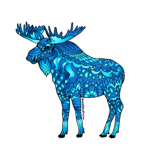 Moose - Majestic Blue Moose Sticker