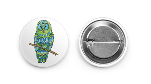 Button - Green Owl