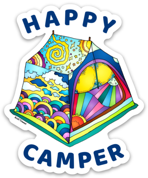Camping - Happy Camper Tent Sticker