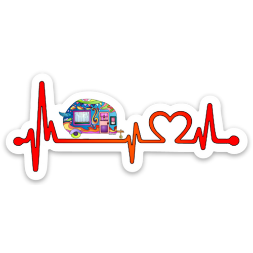 Camping - Heartbeat Camper Sticker