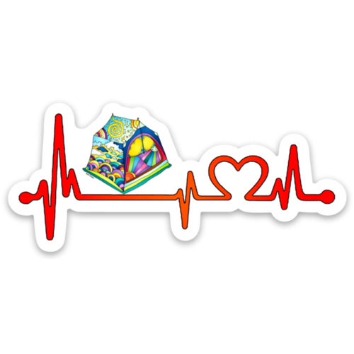 Camping - Heartbeat Tent Sticker