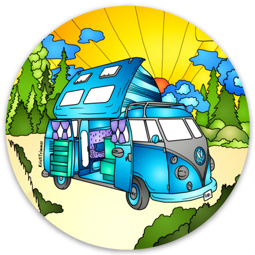 Camping - VW Camper Circle Sticker