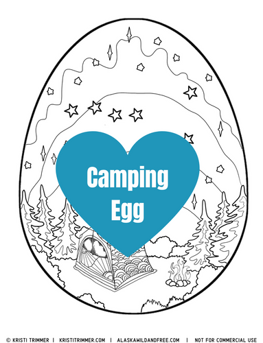 Color: Easter Eggs - Camping Coloring Page