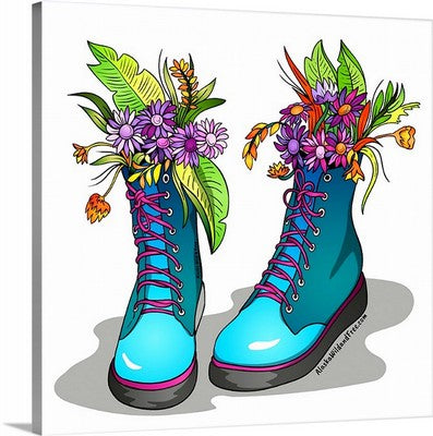 Canvas - Blue Gardening Boots