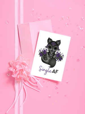 Greeting Card - Black Fox - Single AF