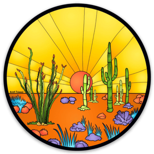 Cactus - Desert Sunset Circle Sticker