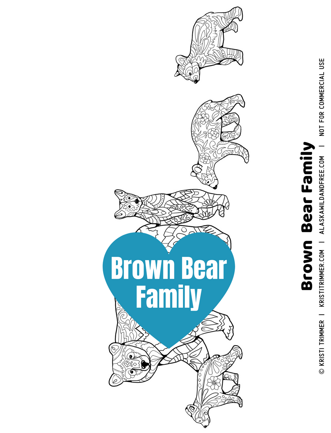 Color: Brown Bear Family Coloring Page