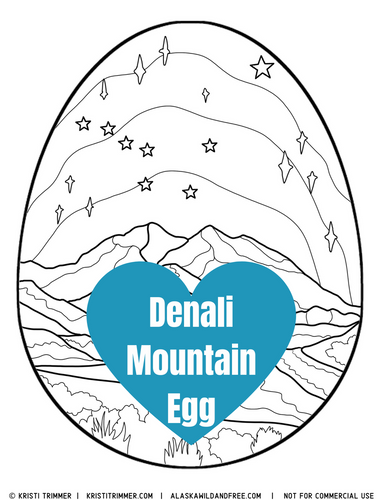 Color: Easter Eggs - Denali Mountain Coloring Page