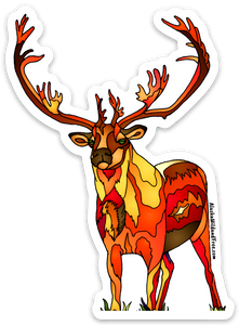 Caribou - Double Shovel Fire Caribou - Sticker